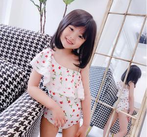 Kids floral swimsuits 2021 summer girls falbala fly sleeve siamese swimming korean style children one shoulder beachwear A5991