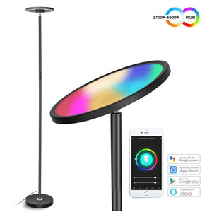 Modern LED Floor Lamp Smart WIFI Standing Pole Lamps Dimmable LED Corner Light With USB Charging Port For Living Room Offices