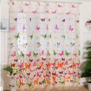Curtain & Drapes 180cmx210cm Butterfly Print Sheer Window Panel Curtains Room Divider For Living Bedroom Kitchen