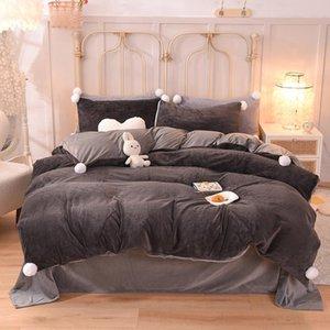 Bedding Sets 3 4pcs Plain Cute Plush Velvet Set Super Soft Hairball Decor Duvet Cover Pillow Case Winter Thick Warm Bed