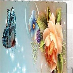 4pcs Elegant Flowers Pattern Doccia Tenda Doccia Toilet Cover Mat Tappeto antiscivolo Set Bagno Impermeabile Tenda da bagno impermeabile con 12 ganci 697 K2