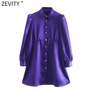 Zevity Femmes Vintage Diamond Buttons Solid Soft Mini Robe Femme Ploits Plein Sleeve Casual A Ligne Vestido Chemise Robes DS4822