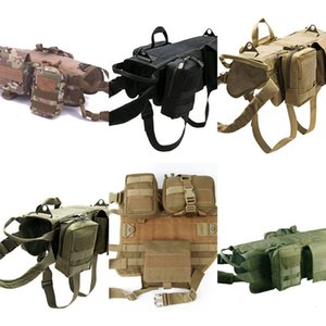 Tactical Military Dog Vest Harness Set with Pouch Molle Pet Clothing Jacket Adjustable Nylon Large Dog Patrol Equipment Free Shipping 3 FKG8