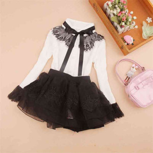 arrival Girls long sleeve blouses European and American Style Eyelash Lace design shirts Teenage Solid Bow Clothing 210622