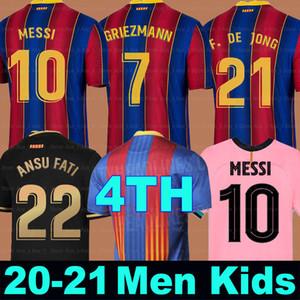 كرة القدم جيرسي برشلونة 20 21 camiseta دي فوتبول 4th ansu فتي 2021 ميسي grizmann f.de جونغ بجانيك الرجال النساء الاطفال كيت كرة القدم