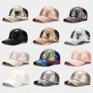Бейсбольная шапка шляпа сложенная PU Suncap Mencap и женская улица Trend красочная лазерная шапка сцена хип-хоп уличная танцевальная кепка