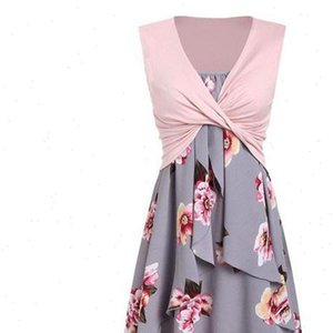 2pcs set Flowers Printed Dresses for Women Sleeveless Summer Party Ladies Two Pieces Set Casual Holiday Beach Dress