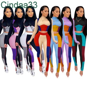 Mujeres diseñadores Ropa 2021 Joggers Traje Conjuntos Color de paneles Moda Slim Outfits Hip Sexy Apretar dos piezas Establecer el nuevo listado