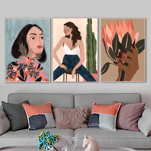 Abstract girl plant flower antique Nordic poster animal footprints wall decoration oil painting living room decoration