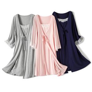 2pcs set Pregnancy Pajamas Sleepwear Nursing Pregnant Sleep Woman Sling Breastfeeding Nightgown Maternity Labor Dress+Robe Childbirth