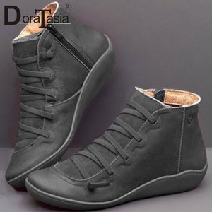 Doratasia New Big Size 35 43 Ladies Ins Stivali Hot Boots Donne Zip Croce Legata Stivaletti Stivaletti Hot Sole Wedges Tacchi Scarpe Donna X10J #