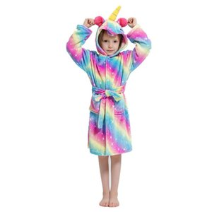 2021 New Kids Children Girls Boys Unicorn Flannel Bathrobe Pajamas Sleepwear Winter Clothes Nightgown Raiow Color Ypnb