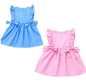 2021 Summer Girls Princes Dress Infant Toddler Ruffle Flounce Sleeveless Dresses Cute With Side Bows Baby Party Skirt H23IJY0