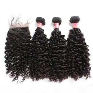 Bella Hair? Hair Bundles with Closure Brazilian Virgin Curly Human Hair Weaves Natural Color Extensions julienchina