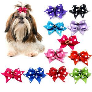 10pcs lot Pet Head Flower Dog Hair Ornaments Polka Dot Head Flower Bow Knot Jewelry Pet Decorations Supplies GWD5105
