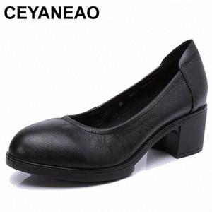 Ceyaneao 2019 donne in vera pelle tacchi alti pompe femminili OL comodo scarpe da lavoro nero 34-41E1927 P7mu #