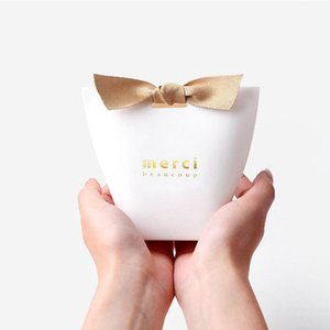 10pcs lot Thank You Candy Box with Ribbons Wedding Decoration Bonbonniere Gift Boxes Bride Favors Paper Bag for Guests PM001