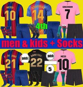 Maillot de Foot Barcelona 2020 2021 Fussball Jersey Barca Ansu Fati 20 21 Messi Griezmann Jong Coutinho Football Hemd Enfants Herren Kids Kit