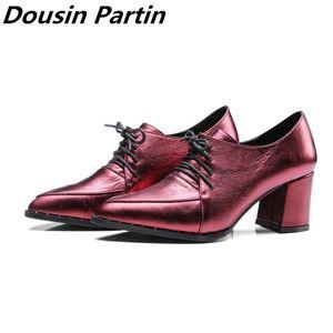 Dousin Partiin Spring  Autumn Women pumps Shoes Woman Platform Lace Up Black Pointed Toe Square High Heels N745632145 35-40 210310
