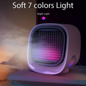 Mini Air Conditioner Cooler bedroom furniture Fans USB Portable Conditiioner Table Fan Cooling For Office 7 Color light