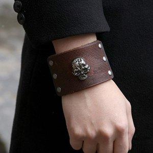 Tennis 2021 Fashion Punk Skull Bracelet Leather Wrap Skeleton Men Jewelry Gift For Him Pulseira Masculina Bracelets NM-16