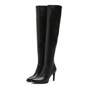 Over-the-joelho botas mulheres elástico preto inverno botas fina de salto alto botas de salto alto senhoras sexy pointed toe sapatos botas mujer 2019 231k #
