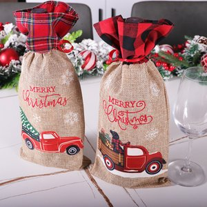 Christmas Plaid Wine Bottle Cover Floral Car Printted Wines Bag Xmas Champagne Bottles Covers Christmases Decoration GWF9371