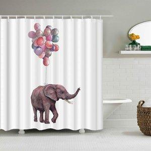코끼리 폴리 에스터 패브릭 샤워 커튼 홈 장식 멀티 사이즈 샤워 커튼 동물 방수 커튼 욕실 용