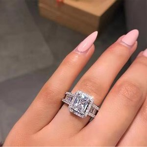 Iconic Allure Promise Ring 925 sterling silver Baguette Diamond Engagement Wedding band rings for women Jewelry 17 R2
