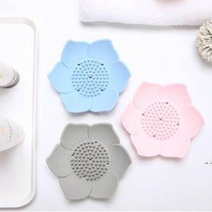 Blume Silikon Seifenschale Lotus Form Entleerende Seifenschale Halter Tragbare Seifen Gerichte Toilette Badezimmer Zubehör DHD5245