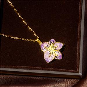 Colar de flores roxas com fundo dourado feminino presente popular no Dia dos Namorados joias de aniversrio festa no atacado