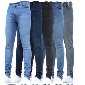 Summer Men Slim Jeans Heavy Wash Small Leg Openning Stretchable Fabric Vintage Male Denim Pants