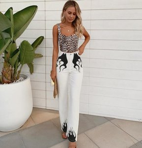 Woman Wide Leg Pant Black Flame Printed Zipper Button Flared Trousers Pant S-L Casual Pant