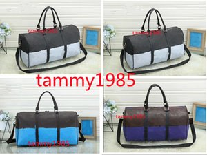 3 colors Sport&Outdoor Packs 55cm women men bags fashion travel bag duffle bag, leather luggage handbags large contrast color capacity sport