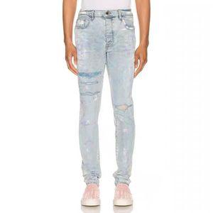Fashion 20ss Amir spring and summer bleach hole tie dye patchwork slim jeans men's high street