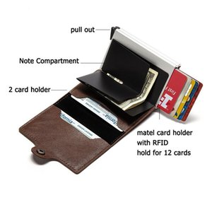 Bycobecy New Carbon Fiber Anti Rfid Credit Card Holder Men Cardholder Metal Aluminum Double Box Bank Id Holder Minimalis qylzbu