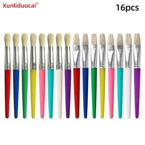 Brisle Oil Paintbrush 16 مجموعات من اللون جولة مسطحة رئيس البلاستيك رود الأطفال الكتابة على الجدران