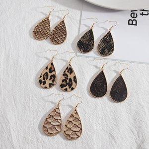 Teardrop inspired Leopard Print Snakeskin PU Leather Charms Earrings Geometric Women Jewelry