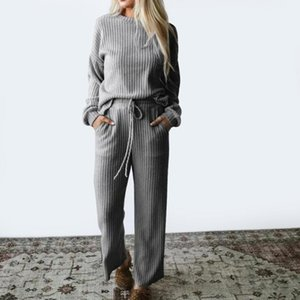 Women's Two Piece Pants HEFLASHOR Autumn Spring Knitted Sweatershirt Set Women Wide Leg Suit Loose Solid Casual 2 Tracksuit