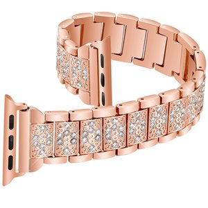 Luxury Diamond watch band For Apple Watch 38mm 42mm 40mm 44mm stainless steel strap women bracelet for iWatch series 4 3 2 1 bands