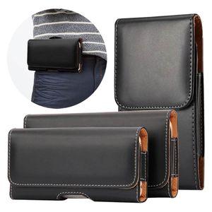 Clip Cinturón de cuero PU Funda telefónica para iPhone 12 Pro 11 SE XR Samsung Huawei Xiaomi Bag Bolsa Flip Funda con clip de cinturón