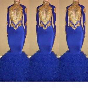 Gorgeous High Neck Long Sleeves Prom Party Dresses 2019 Mermaid Royal Blue Evening Gowns with Gold Lace Bead