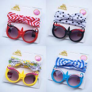 2Pcs Kit Cute Children Baby Girls Sunglasses Turban Headband Hair Band Anti-UV Cartoon Glasses Knot Bow Headband Kids Photo Prop