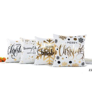 Happy merry Christmas Cushion Cover Gold Printed Pillow Decorative Pillow Cases Sofa Pillowcase Soft gold decorations 45*45cm HWF10290