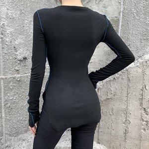 Streetwear Slim Splice Long Tshirt Women Dark O-Neck Long Sleeve Split Bodycon Tops Autumn Fashion Casual Knitt Top