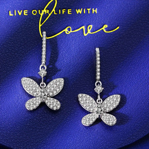 HBP fashion luxury Jewelry New S925 sterling silver bow earrings are popular in luxury, versatile, full diamond inlaid earhook