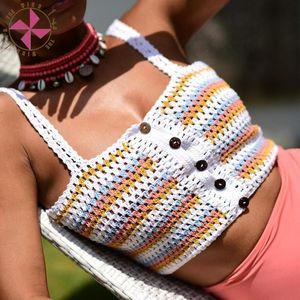 Im Wind Damen Häkeln Bralette Strickknicktasten BH Boho Beach Bikini Halfter Crop Top Cami Tank