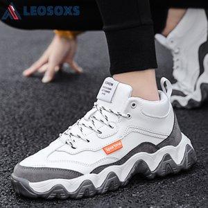 Leosoxs Fashion Otoño Negro Blanco Starrazo de la raya para los hombres Plataforma gruesa Zapatos causales Tacón zapatillas transpirables Papá Zapatos S41 C0309