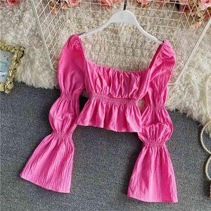 Women's Blouses & Shirts Elegant folds lantern long-sleeved shirt female summer retro solid color square neck short top for womens