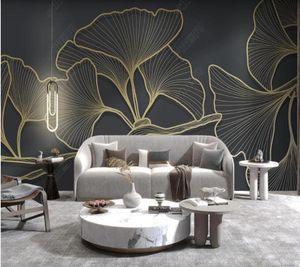 Wallpapers Papel De Parede Modern Minimalist Abstract Leaf 3d Wallpaper,living Room Tv Wall Bedroom Home Decor Bar Mural